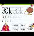 how to write letter k workbook for children vector image vector image