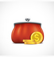 icon red purse and golden dollar coins vector image