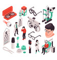 isometric ophthalmology icon set vector image vector image