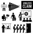 jobless claims unemployment benefits stick figure vector image