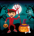 kids and halloween vector image vector image