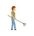 male farmer with pick fan scraper farm worker vector image vector image