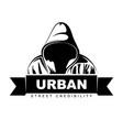 man in hoodie hooded logo design urban vector image vector image
