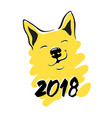 new year 2018 card yellow dog funny card vector image