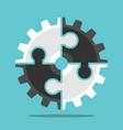 puzzle cog teamwork concept vector image vector image