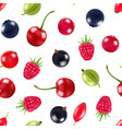 realistic fruits and berries pattern or vector image vector image