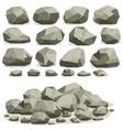 rock stone cartoon in isometric flat style set vector image vector image