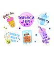 set different types bubble tea in plastic vector image