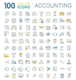 Set Flat Line Icons Accounting and Finance vector image vector image