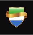 sierra leone flag golden badge design vector image vector image