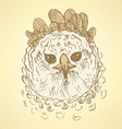 Sketch harpia bird head in vintage style vector image vector image