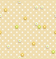 small flowers in polka dot seamless pattern vector image