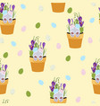spring seamless patterns with green twigs vector image vector image