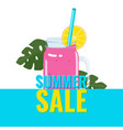 summer sale banner with smoothie cocktail in a jar vector image vector image
