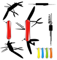 swiss army knife silhouette vector image vector image
