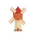 traditional european windmill building cartoon vector image vector image