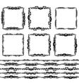Vintage floral elements black on white background vector image vector image