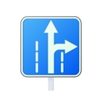 Warning traffic sign drive straight or right icon vector image