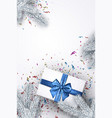 white new year background with gift vector image vector image