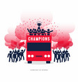 winner cup soccer celebration on open top buses vector image vector image