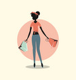 woman shopping paper handbags retro style vector image vector image