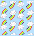 seamless pattern with cloud and rainbow vector image