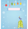 Christmas background with frame snow tree and bird vector image