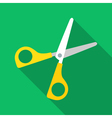 Colorful scissors icon in modern flat style with vector image