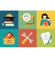 Set of modern icons in style flat on social issues vector image