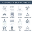 16 word icons vector image vector image