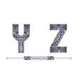 alphabet polynesian style in a set yz vector image vector image