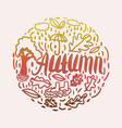 autumnal elements in round shape vector image