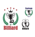 Billiard trophy cup vector image vector image