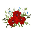 bouquet poppies and forget-me-nots isolated vector image