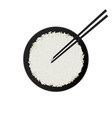 bowl of white rice with chopsticks isolated on vector image