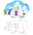Children building a snow fort vector image vector image