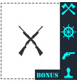 crossed shotguns hunting rifles icon flat vector image vector image