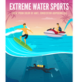 Extreme Water Sports Flat Composition Poster vector image vector image