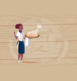 female african american chef cook holding pizza vector image