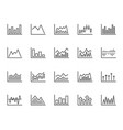 financial charts line icons candle stick graph vector image vector image