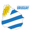 flag and map of uruguay vector image vector image