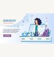 flat landing page promoting homeopathy medicine vector image vector image