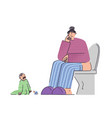 frustrated and stressed woman with kid in bathroom vector image