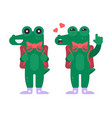 funny green crocodile character in flat design vector image