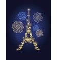 Glowing Eiffel Tower Surrounded By vector image