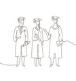 graduating students - one line design style vector image vector image