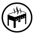 grill icon or hot chargrill with fire portable vector image