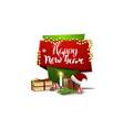 happy new year red and green vertical greetings vector image