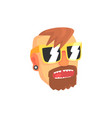 hipster man face with sunglasses cartoon character vector image vector image