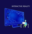 interactive reality person with vr glasses vector image vector image